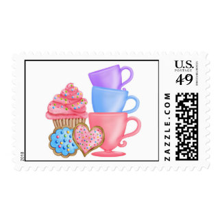 Tea Party Cupcake Cookie Postage Stamps