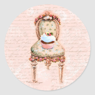 Tea Party Cupcake French Victorian Design Classic Round Sticker