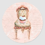 Tea Party Cupcake French Victorian Design Round Stickers