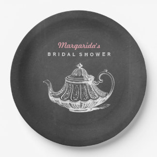 Tea Party Decorations Chalkboard Bridal Shower Paper Plate