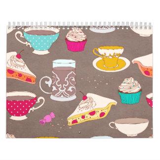 Tea party Dessert Print Cupcake Pie Doodle Wall Calendar