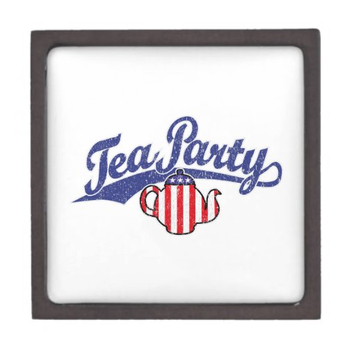 Tea Party Distressed  Logo Premium Trinket Box
