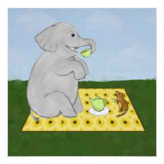 Tea Party Elephant and Mouse Poster Print