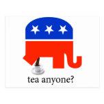 Tea Party Elephant Poop in Cup Postcard