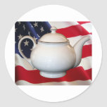 Tea Party Flag Classic Round Sticker