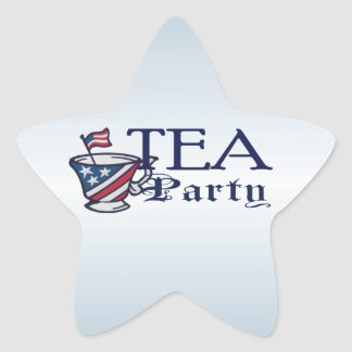Tea Party Flag with Patriotic Teacup Flag Star Sticker