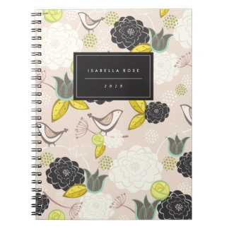 Tea Party Floral Blooms With Birds Custom Notebook