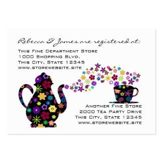 Tea Party Floral Bridal Shower Registry Large Business Card