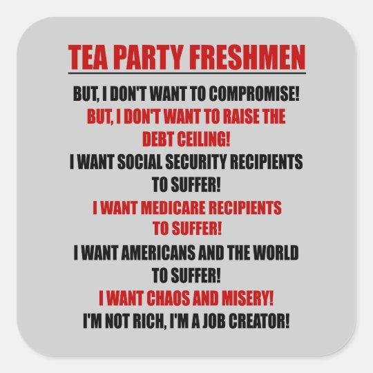 tea party freshmen square sticker