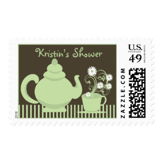 Tea Party Green Bridal Shower Postage Stamps