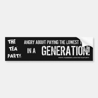 Tea Party Hates Taxes Bumper Sticker