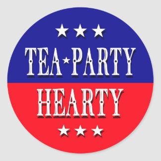 TEA PARTY HEARTY CLASSIC ROUND STICKER