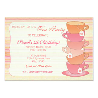 Tea Party 5x7 Paper Invitation Card