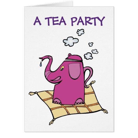 Tea Party Invitation:  Flying Elephant Tea Kettle Card
