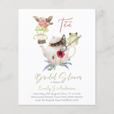Tea Party Invitations for Bridal Shower Budget