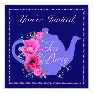 Tea Party Invitations Teapot and Pink Flowers