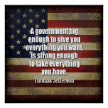 Tea Party - Jefferson: Beware of Big Government Poster