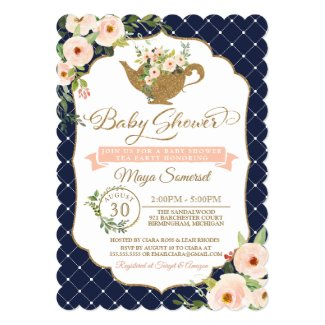 Tea Party Luxury Blush and Navy Floral Baby Shower Invitation