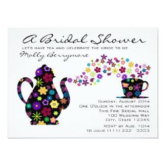 Tea Party Magic Bouquet Bridal Shower 5.5x7.5 Paper Invitation Card