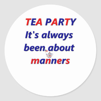 Tea Party Manners Classic Round Sticker