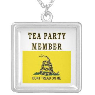 TEA PARTY MEMBER SQUARE PENDANT NECKLACE