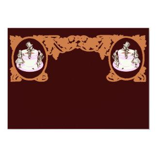Tea Party Original Vintage Frame in Coffee Brown 5x7 Paper Invitation Card
