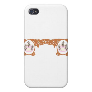 Tea Party Original Vintage Frame in Coffee Brown Cover For iPhone 4