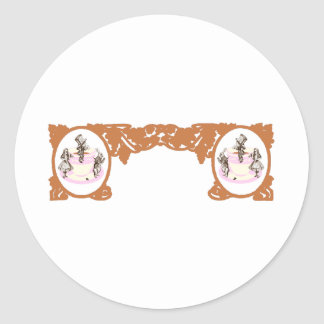 Tea Party Original Vintage Frame in Coffee Brown Stickers