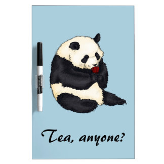 Tea party Panda with red cup Dry Erase Board