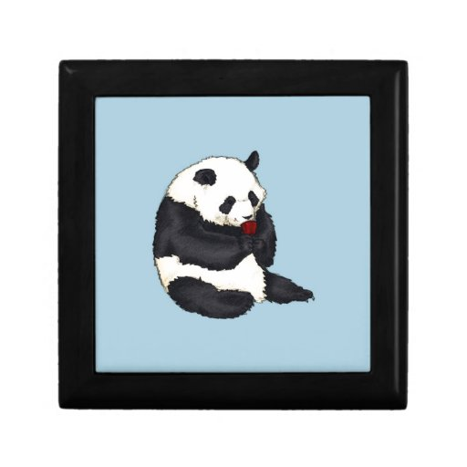 Tea party Panda with red cup Keepsake Box