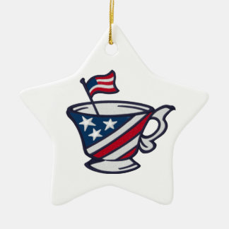 Tea Party Patriotic Red White and Blue with Flag Ceramic Ornament