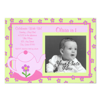 Tea Party/ Photo 5x7 Paper Invitation Card