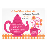 Tea Party Pink and Orange Bridal Shower Invitations