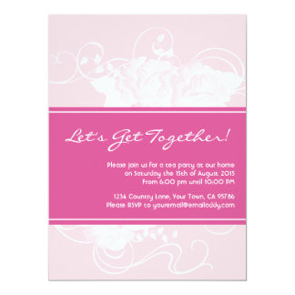Tea Party Pink Floral Invitations