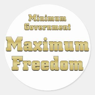 Tea Party Plan Minimum Government Maximum Freedom Round Sticker