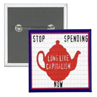 Tea Party Political Button - Long Live Capitalism