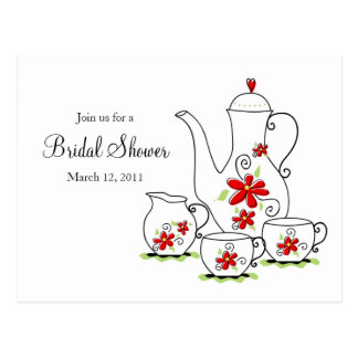 Tea Party, Post Card Invitations, Red Flowers