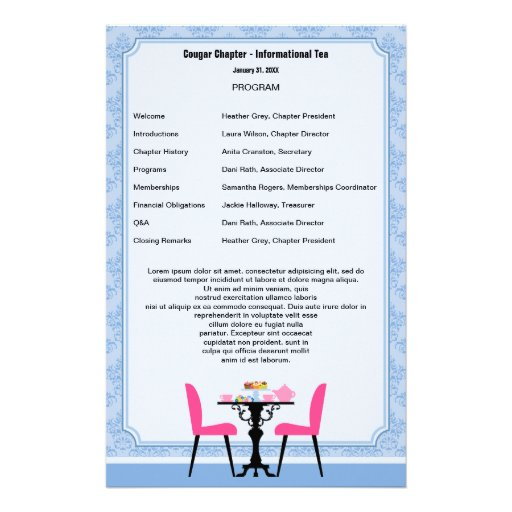 Tea party program template stationery tea party program template