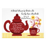 Tea Party Red and Yellow Bridal Shower Custom Invitations
