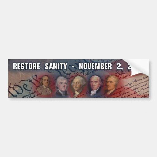 Tea Party - Restore Sanity - 11/2/10 Bumper Sticker