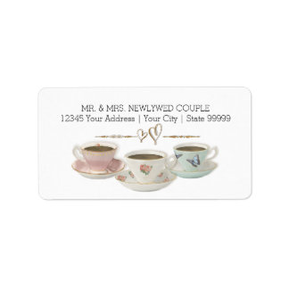 Tea Party Return Address Bridal Shower Invitation Label