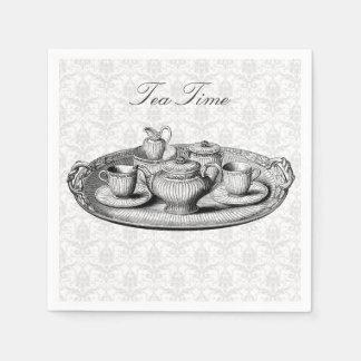 Tea Party Service Set on Damask Optional Words Paper Napkin