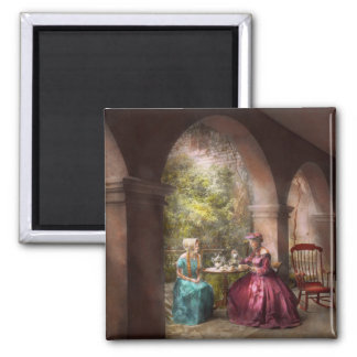 Tea Party - Sharing tea with Grandma 1936 2 Inch Square Magnet