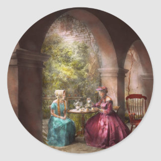Tea Party - Sharing tea with Grandma 1936 Classic Round Sticker