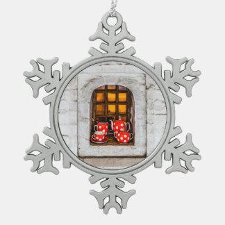 Tea Party Snowflake Pewter Christmas Ornament