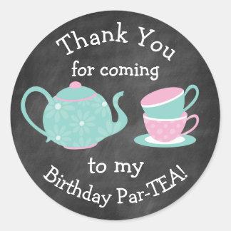 Tea Party Stickers- Bday Par-tea Classic Round Sticker