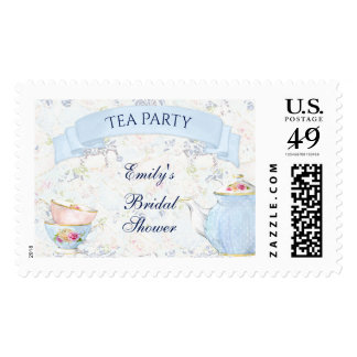 Tea Party Teacups Teapot Blue White Pink Yellow Postage