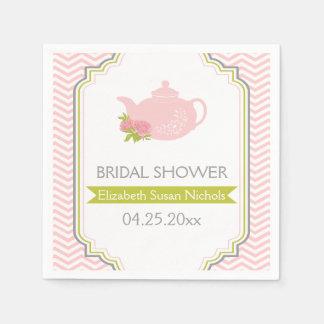 Tea party teapot, chevron pink, green wedding napkin