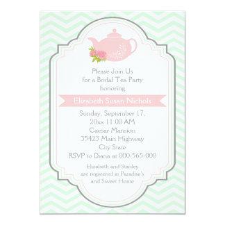 Tea party teapot, chevron pink mint bridal shower card