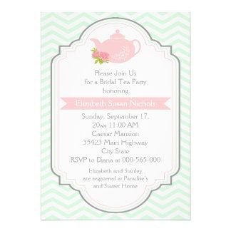 Tea party teapot chevron pink mint bridal shower invitation
